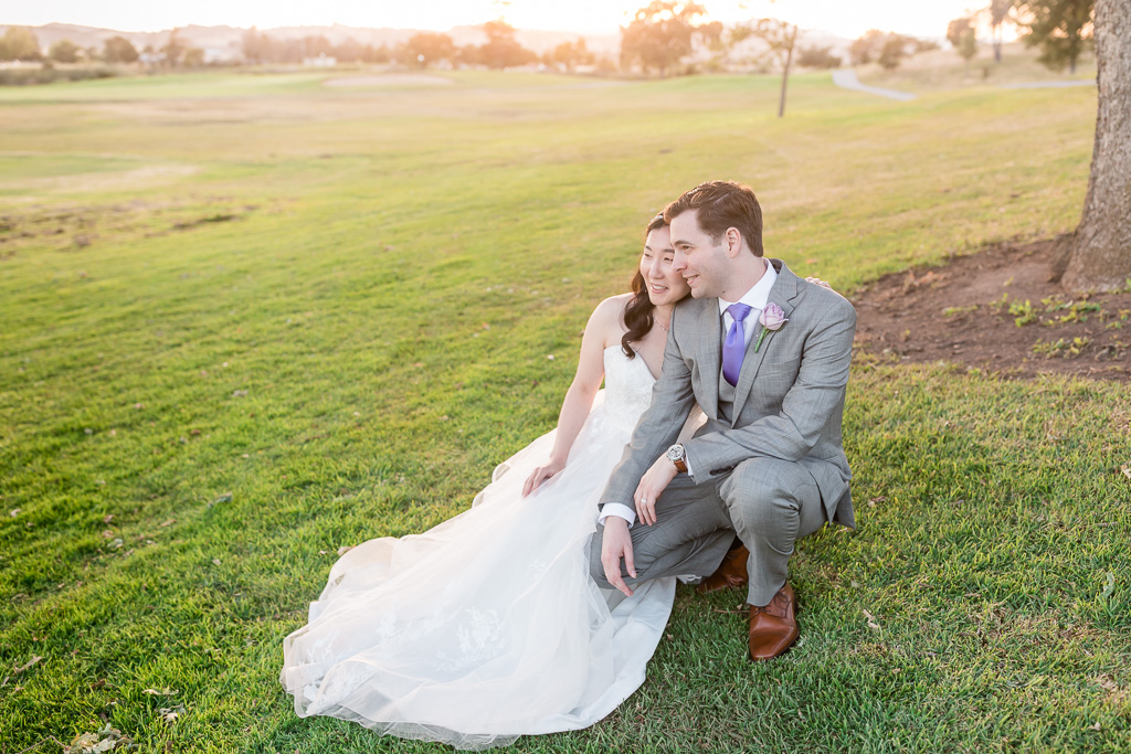 Napa wedding portrait with the golden sunlight