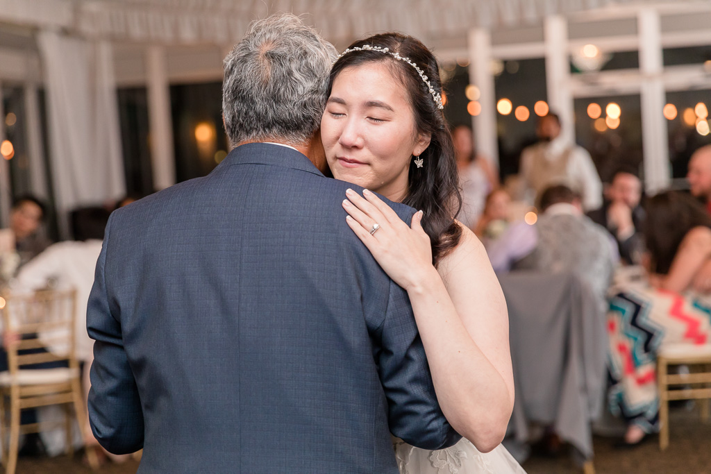 bride teared up during the father-daughter dance