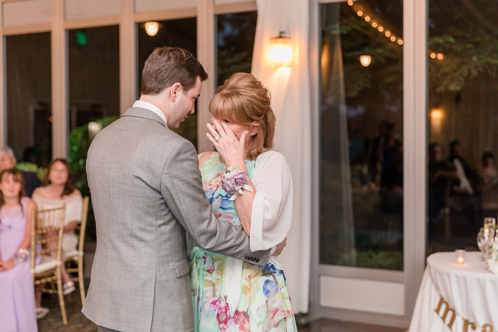 emotional mother-son dance during the wedding reception