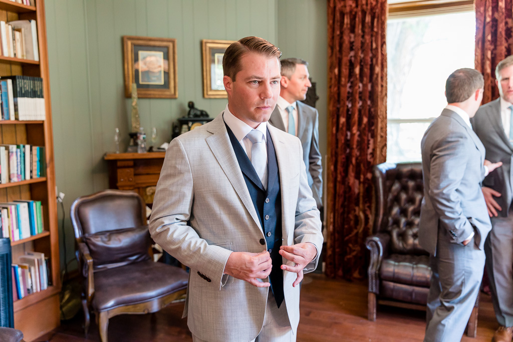 groom getting ready at the Elliston library