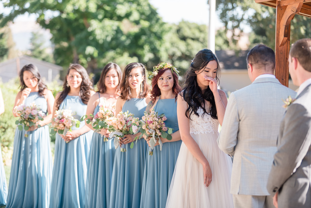 bride cries during the ceremony vow exchange