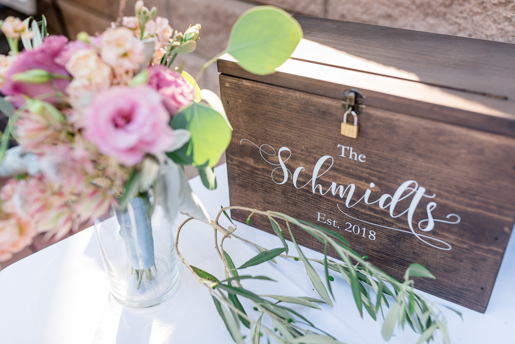 custom calligraphy engraved wedding wooden box for cards