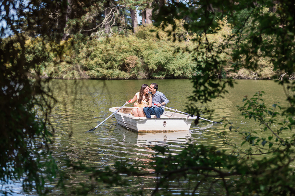 golden gate park stow lake engagement photo