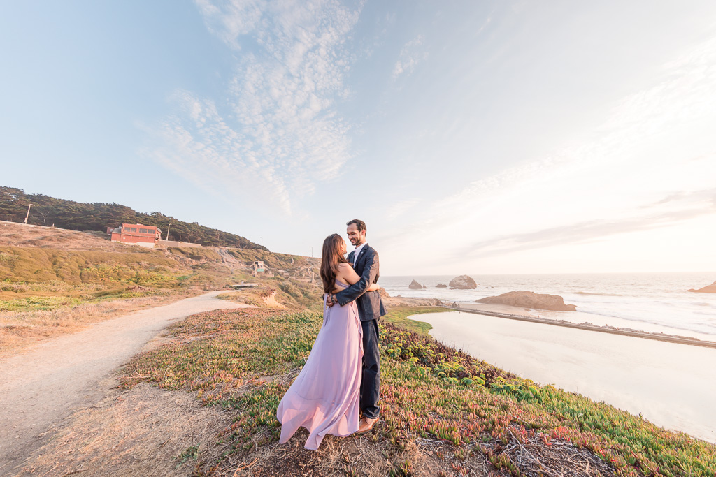 dramatic sunset engagement picture of the couple at lands end