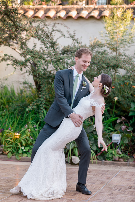 A dip at the end of the first dance