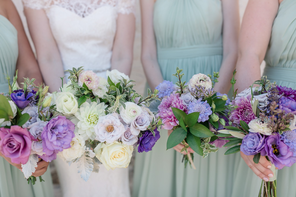 Bridal party bouquets for an outdoor garden wedding