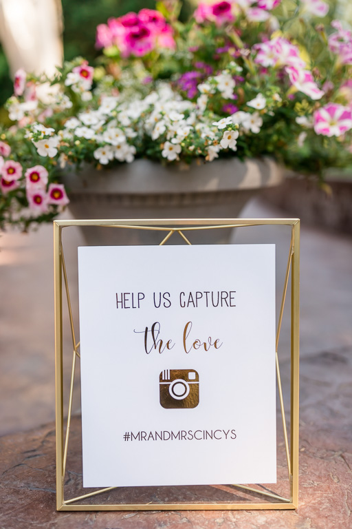 elegant Instagram wedding hashtag sign with gold accent