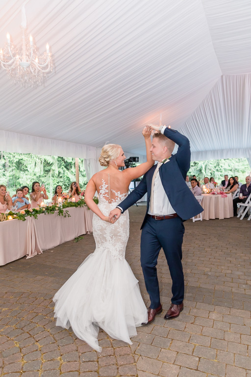 first dance under a white tent