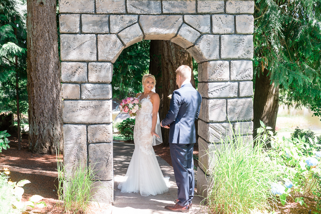 first look under a stone arch