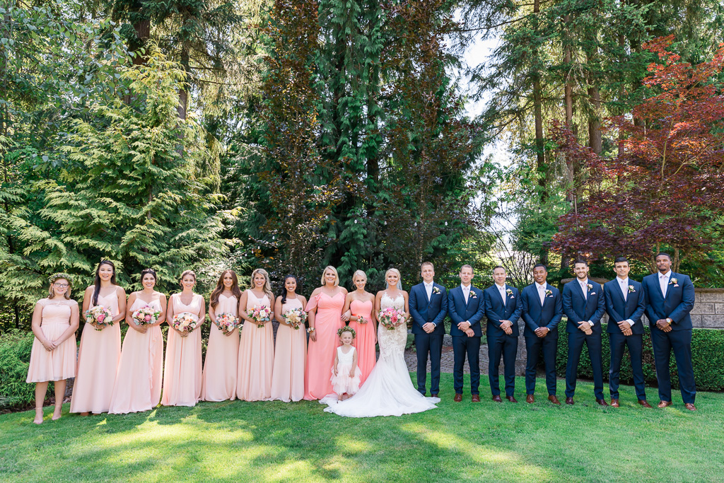 beautiful wedding party photo at the Rock Creek Gardens