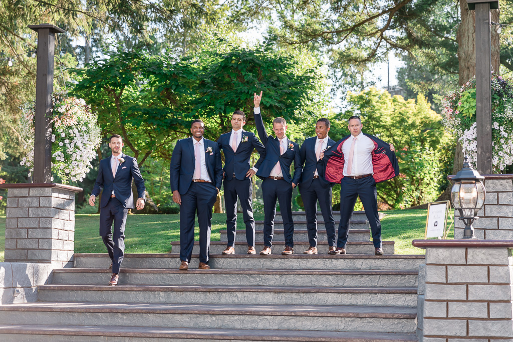 groomsmen made their appearance at the reception