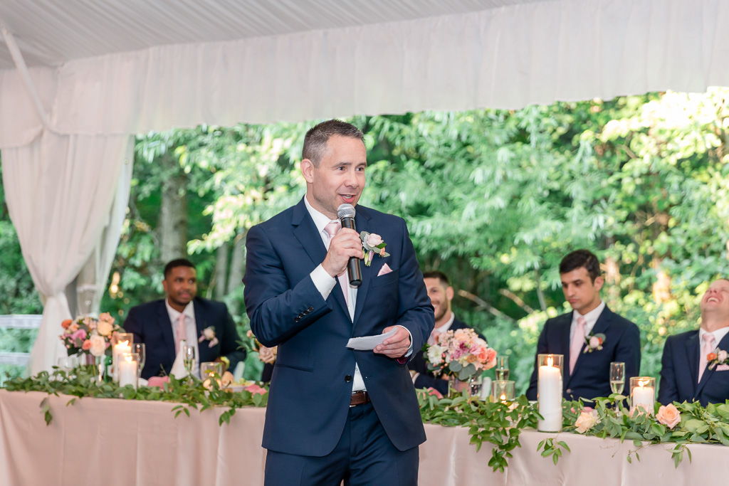 groomsman giving a funny speech