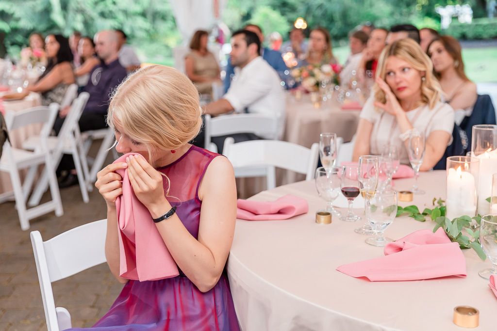 wedding guests got emotional during the thank you toast