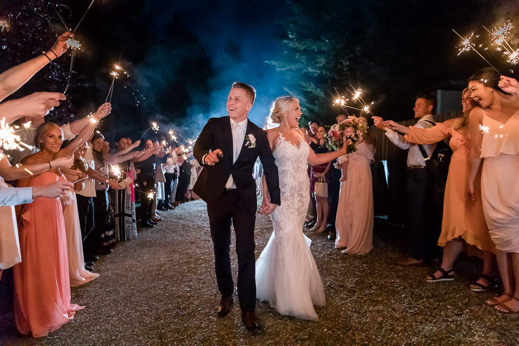 sparkler send-off for the newlyweds