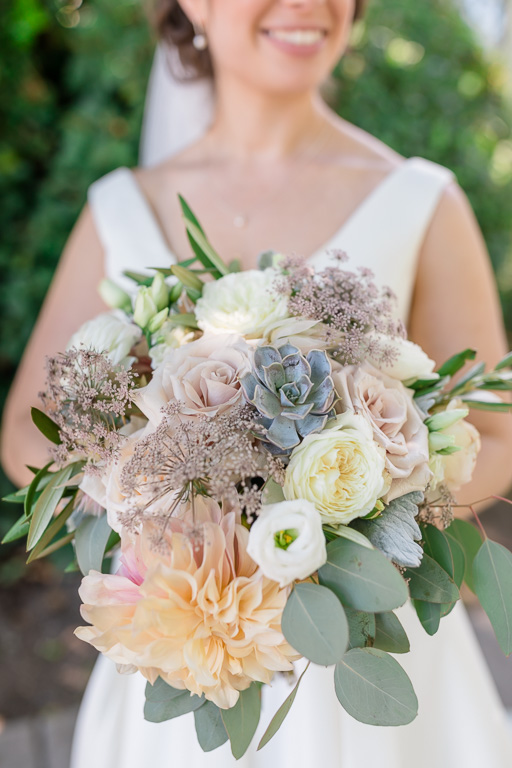 pastel color soft and romantic bridal bouquet at Vine Hill House wedding
