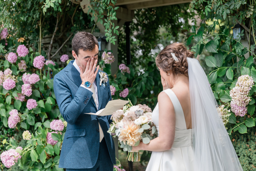 super emotional first look at a beautiful Sonoma outdoor wedding