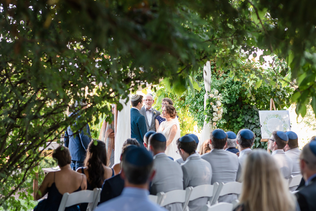 wedding ceremony surrounded by trees