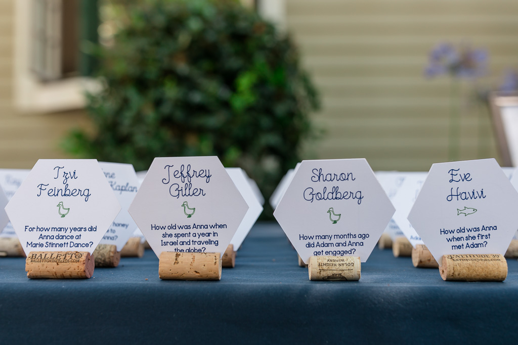 beehive shaped wedding escort cards - table number trivia