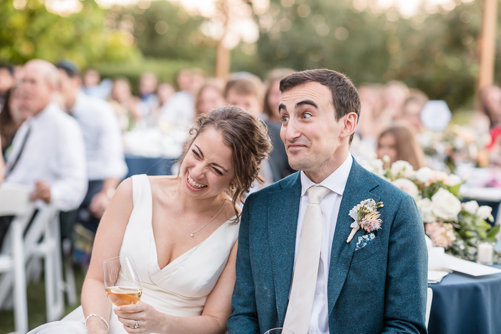 Vine Hill House outdoor wedding reception hilarious moment