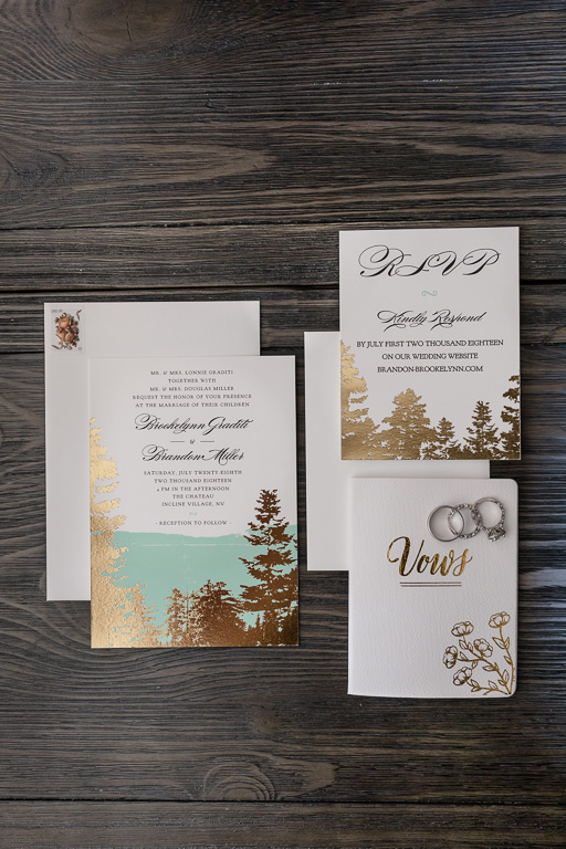 mint and gold invitation suite