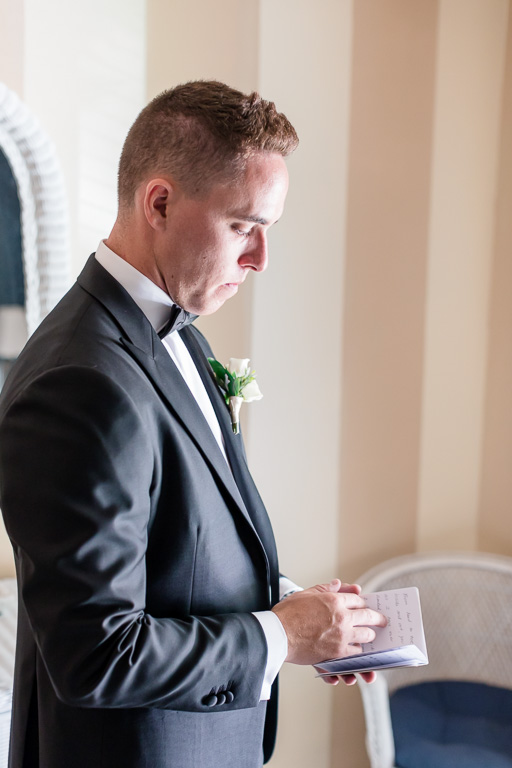 groom practicing his vows