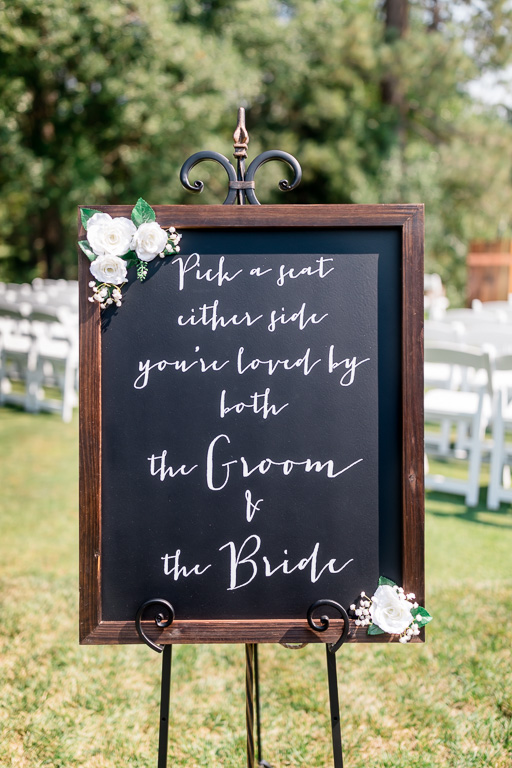 wooden chalkboard wedding ceremony sign