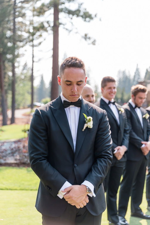 groom patiently waiting for his bride