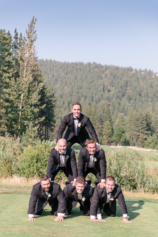 groomsmen human pyramid - Lake Tahoe wedding
