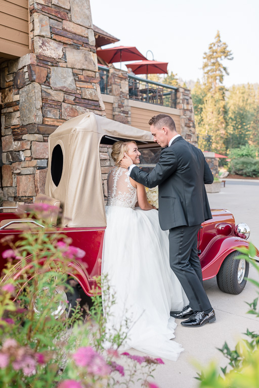 The Chateau at Incline Village wedding photo on the cute vintage golf cart