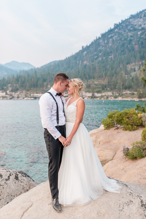 Sand Harbor wedding portrait on the rocks