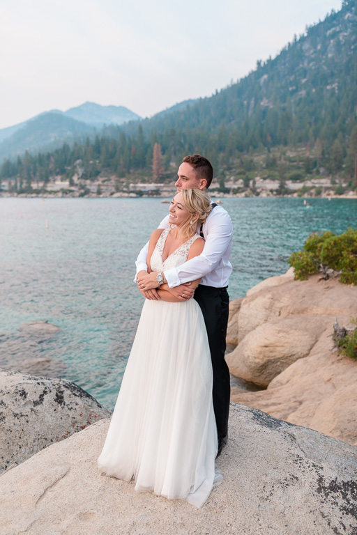 beautiful Sand Harbor beach wedding photo at sunset
