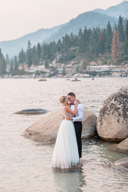 Lake Tahoe wedding photo in the water
