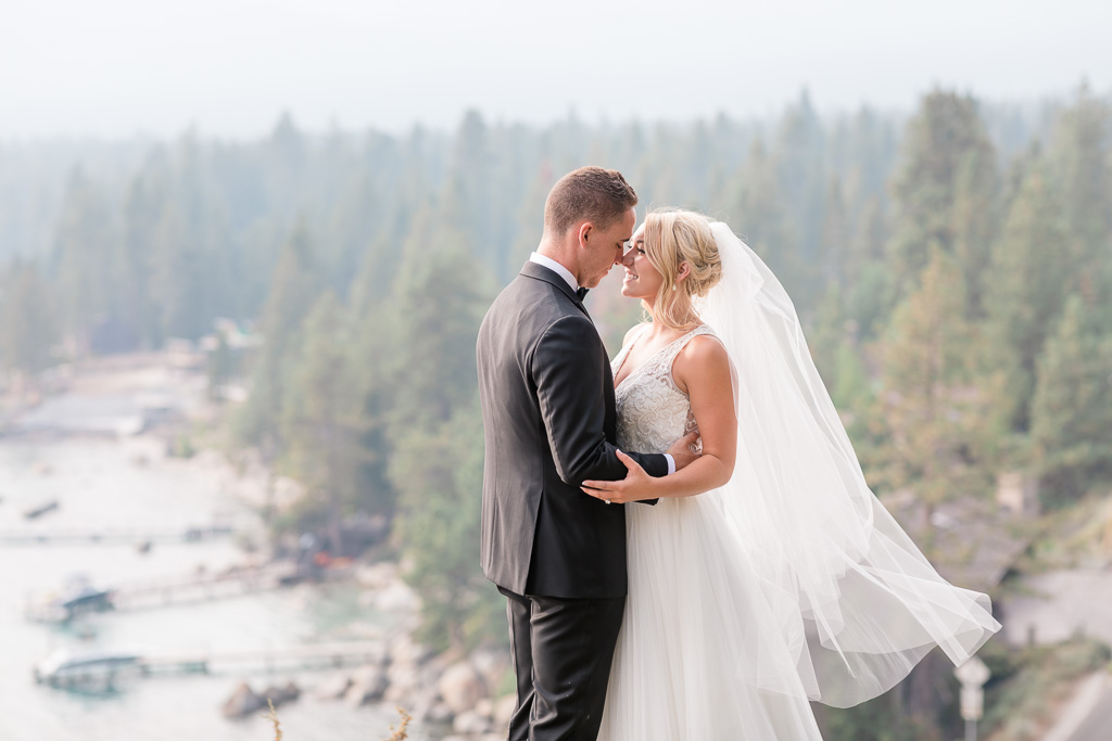 gorgeous mountaintop wedding portrait at Lake Tahoe