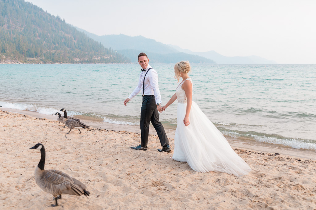 Sand Harbor beach fun wedding portrait