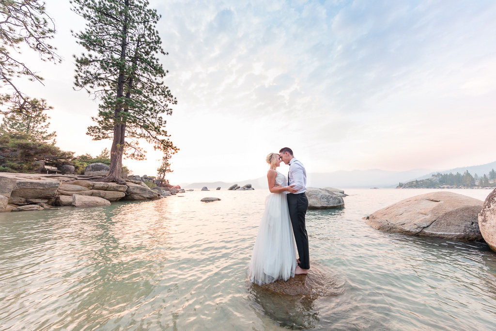 best North Lake Tahoe beach wedding sunset photo on the water