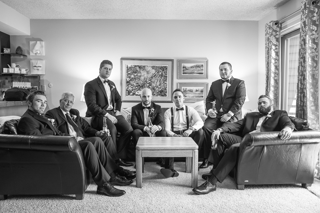groom and his groomsmen getting ready at a Lake Tahoe airbnb