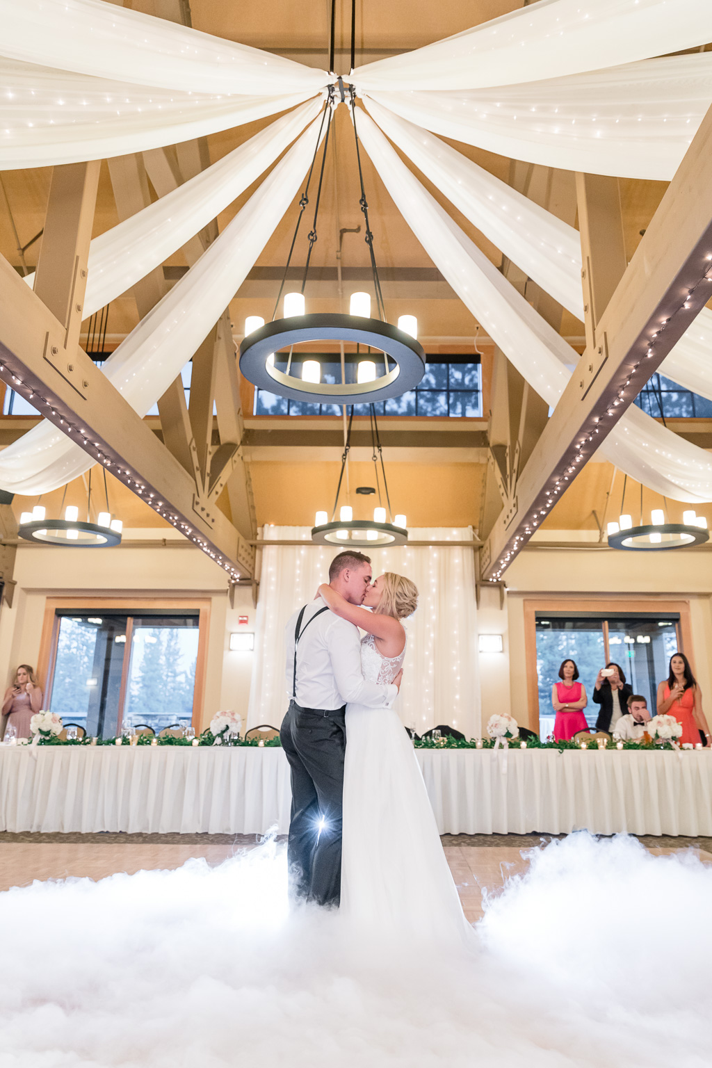 Lake Tahoe wedding reception romantic first dance on a cloud