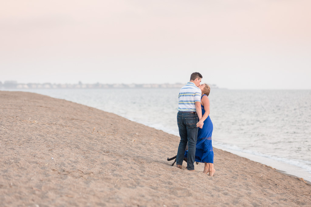 romantic Alameda state beach engagement photo during sunset