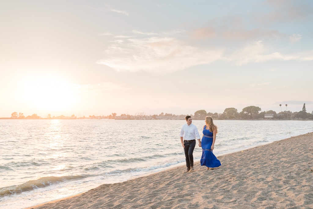 Crown Memorial State Beach sunset engagement photo