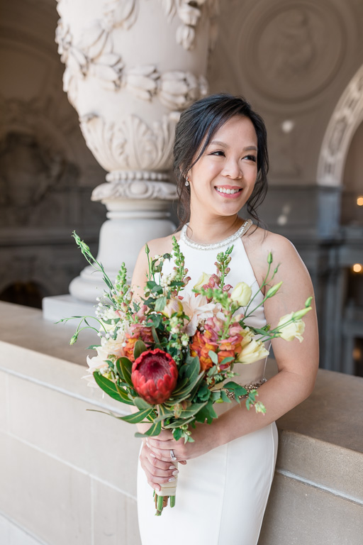 gorgeous bride at San Francisco City Hall
