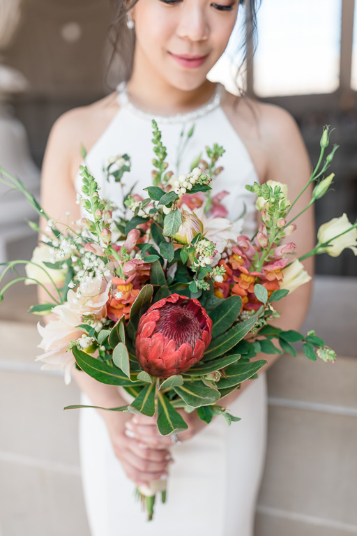 beautiful stylish bridal bouquet for SF city hall ceremony