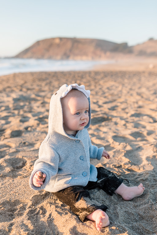 adorable baby with a shark hoodie - san francisco family photographer