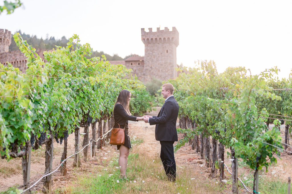 sunset engagement proposal in Calistoga