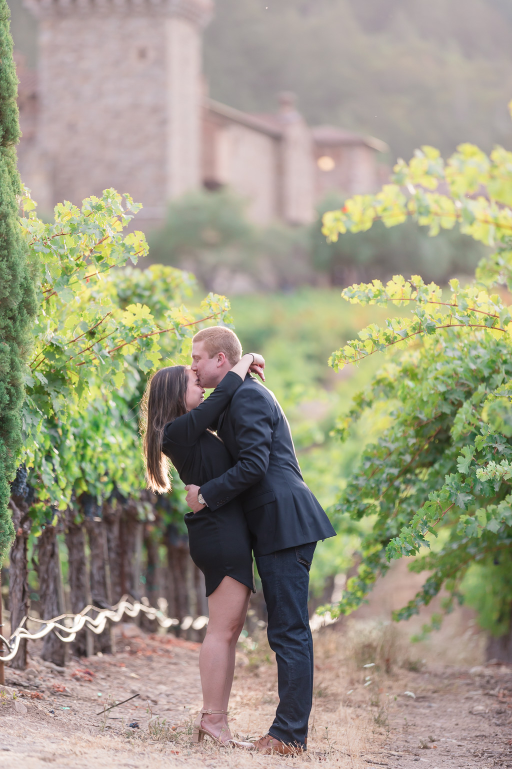 grand Napa castle winery makes the perfect backdrop for a surprise engagement