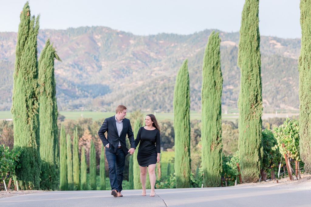 engagement portrait in castello di amorosa winery with mountains in the background