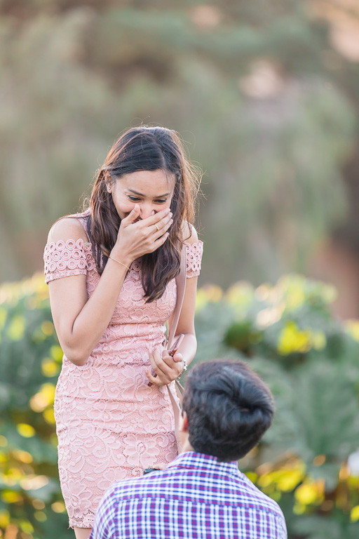 emotional and surprised reaction to a San Francisco surprise proposal