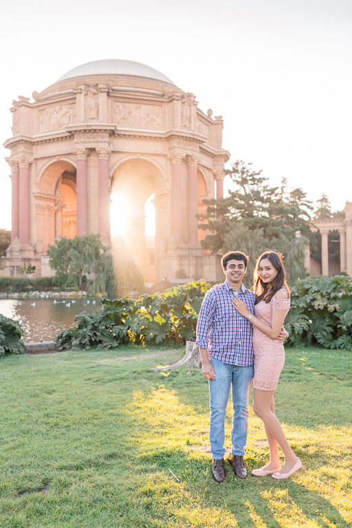 they got engaged at the Palace of Fine Arts under the most gorgeous light