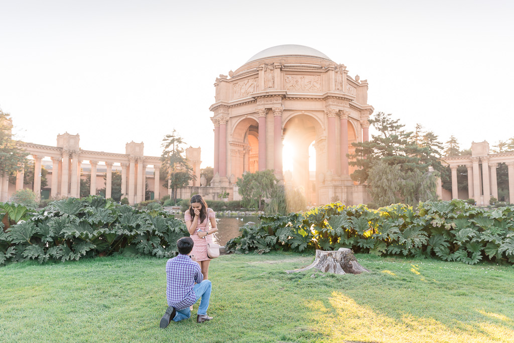 ultra romantic Palace of Fine Arts surprise proposal during sunset