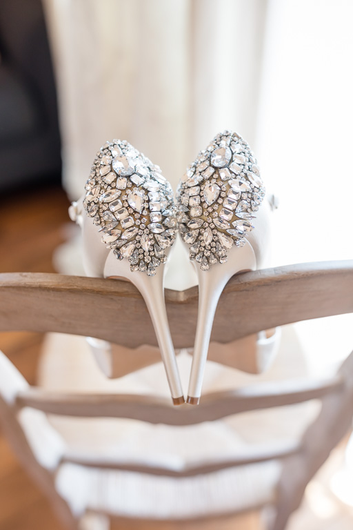 bridal high heels with lots of sparkles