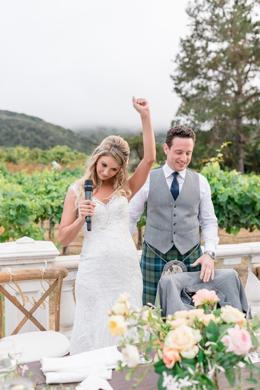 outdoor Carmel wedding reception by the mountains